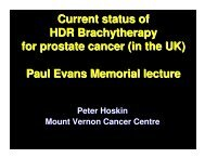 Current status of HDR Brachytherapy for prostate cancer (in the UK ...