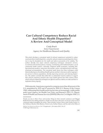 Can Cultural Competency Reduce Racial And Ethnic Health ...
