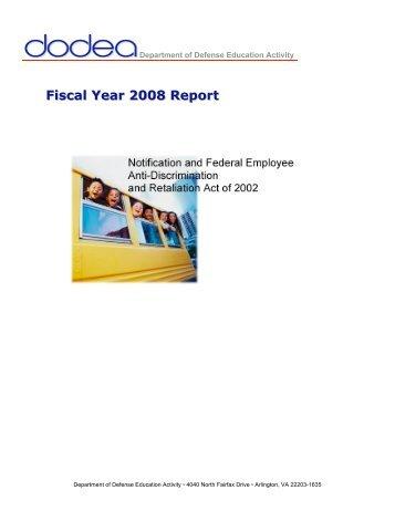FY08 Final Annual No FEAR Report - DoDEA