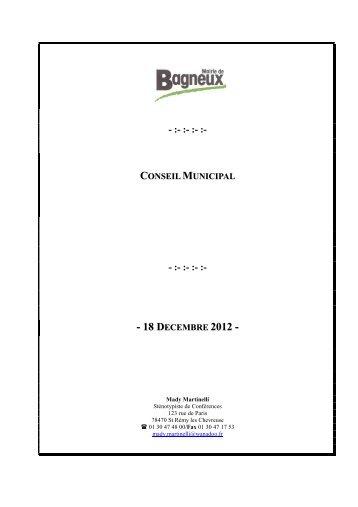 conseil municipal - :- :- :- :- - 18 decembre 2012 - Bagneux