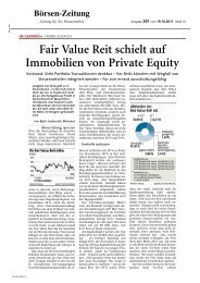 Fair Value REIT schielt auf Immobilien von Private Equity