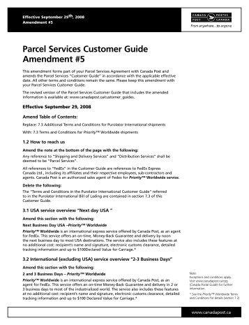 Canada Post – Parcel Services Customer Guide Amendment 5