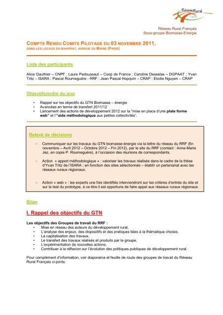 comite pilotage du 29 mars 2012 - Réseau Rural Français