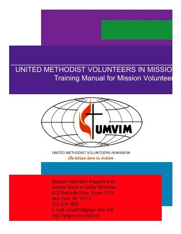 UNITED METHODIST VOLUNTEERS IN MISSION Training Manual ...
