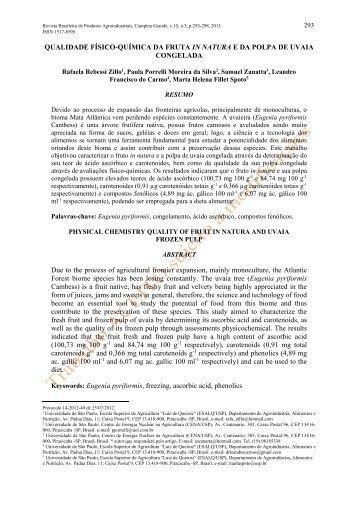 Qualidade físico-química da fruta in natura e da ... - Deag.ufcg.edu.br