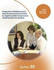 Usage des antidépresseurs chez les personnes inscrites ... - INESSS