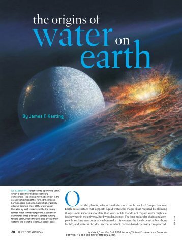 Water to Earth - Scientific American Digital