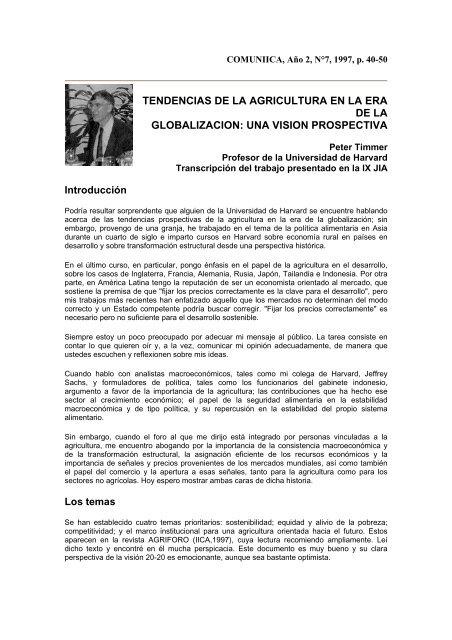 TENDENCIAS DE LA AGRICULTURA EN LA ERA DE LA ...