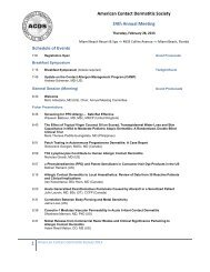 Schedule of Events - American Contact Dermatitis Society