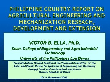 philippine country report on agricultural engineering and