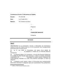 X c. Financière Manuvie - Commission d'accès à l'information du ...