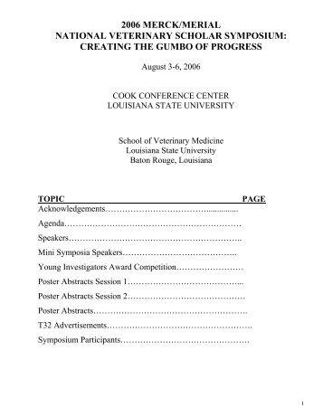 2006 merck/merial - School of Veterinary Medicine - Louisiana State ...