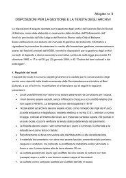 Allegato nr. 8 DISPOSIZIONI PER LA GESTIONE E LA TENUTA ...