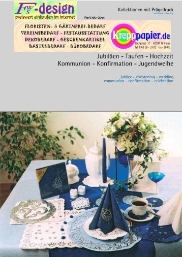 Jubiläen - Taufen - Hochzeit Kommunion - Konfirmation - fws-design