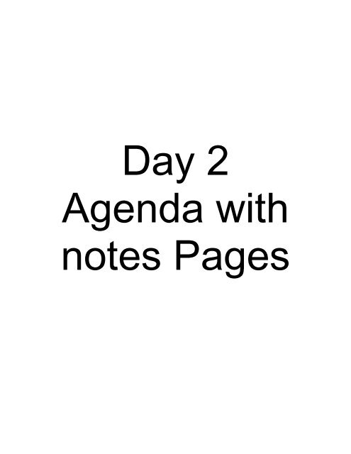 PDAS TRAINING Day 2 – Agenda