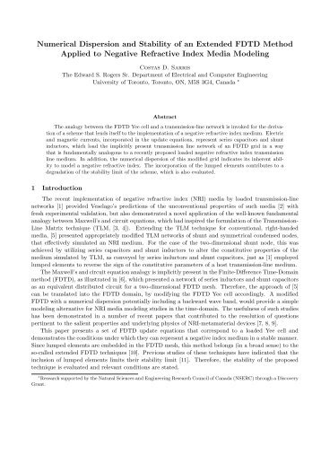 Numerical Dispersion and Stability of an Extended FDTD Method ...