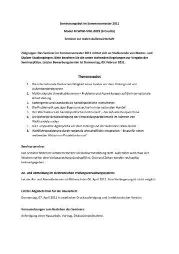 Seminar zur realen Außenwirtschaft Zielgruppe: Das Sem
