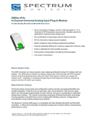 2080sc-IF4u 4-Channel Universal Analog Input Plug-In Module