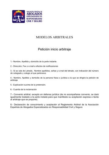 MODELOS ARBITRALES Petición inicio arbitraje - Asociación ...