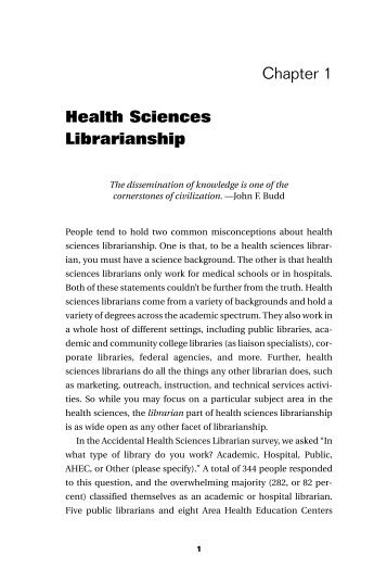 Chapter 1 Health Sciences Librarianship - Books