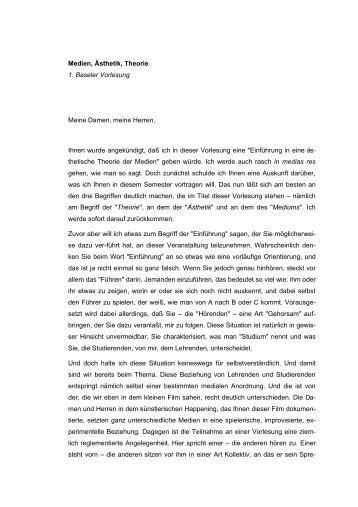 Medien, Ästhetik, Theorie 1. Baseler Vorlesung Meine Damen ...