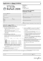 BioFach Official Show Forms - B-FOR International