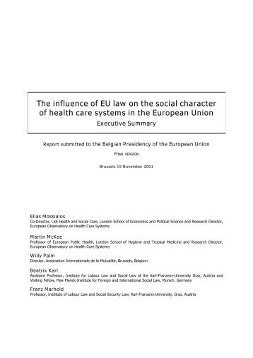 The influence of EU law on the social character of health care ...