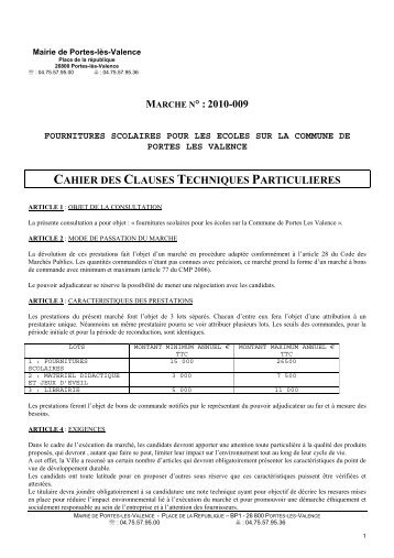 CCTP FOURNIT SCOL 2010 - Portes-lès-Valence