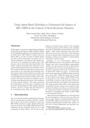 Using Agent-Based Modeling to Understand the Impact of HIV/AIDS ...