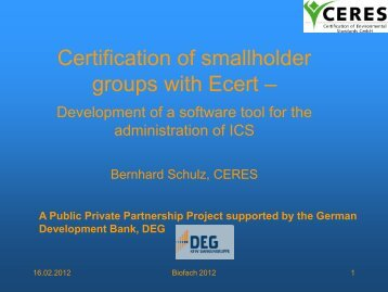 Certification of smallholder groups with Ecert - Organic Services GmbH