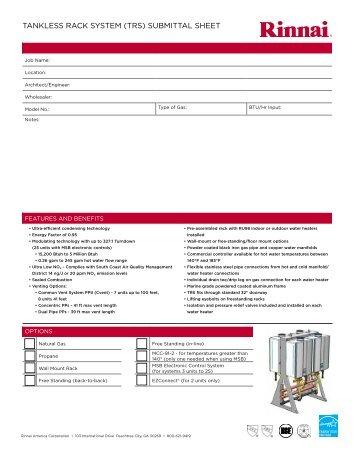 TANKLESS RACK SYSTEM (TRS) SUBMITTAL SHEET - Rinnai