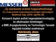 Korszerű duplex acélok hegesztéstechnológiája és ... - Messer