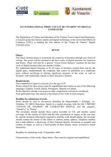"""i premis """"ciutat de vinaròs"""" de literatura digital - Universitat Oberta ..."""