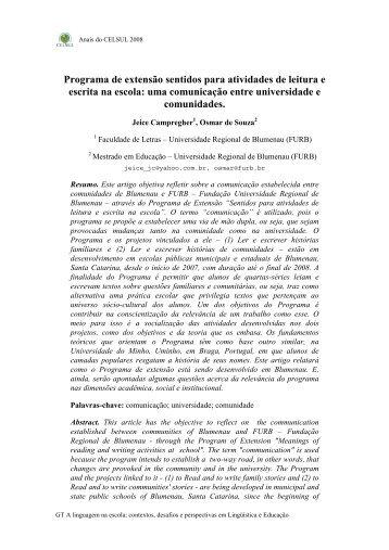 Programa de extensão sentidos para atividades de ... - Celsul.org.br