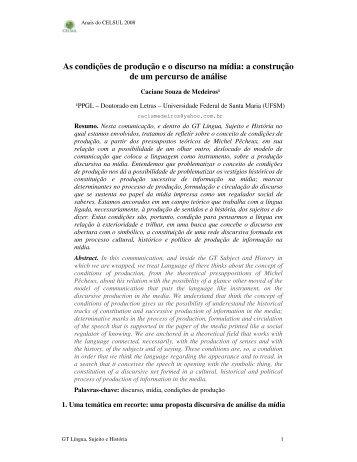As condições de produção e o discurso na mídia: a ... - Celsul.org.br