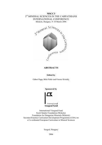 MSCC3 3rd MINERAL SCIENCES IN THE CARPATHIANS ...