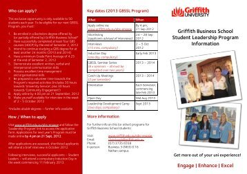 information about the Griffith Business School ... - Griffith University