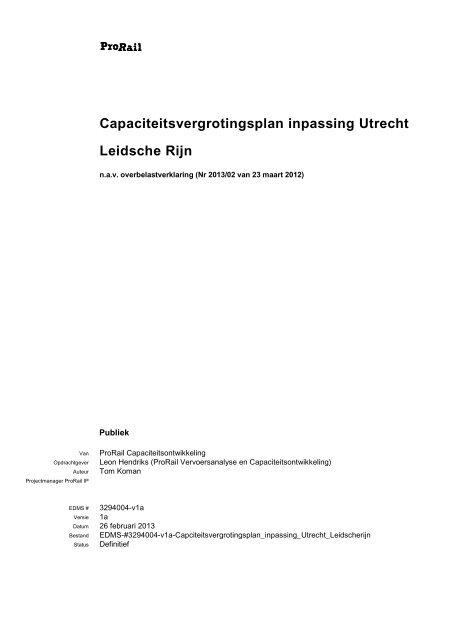 Capaciteitsvergrotingsplan inpassing Utrecht Leidsche Rijn - ProRail