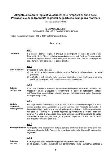 Decreto legislativo concernente l'imposta di culto delle Parrocchie e ...