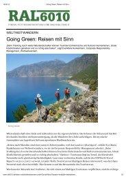 Going Green: Reisen mit Sinn - Weltweitwandern