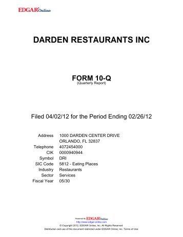 darden restaurants inc form 10-q - Investor Relations - Darden ...