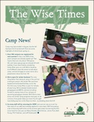 December 2008: Volume 2, Issue 1 - Camp Wise