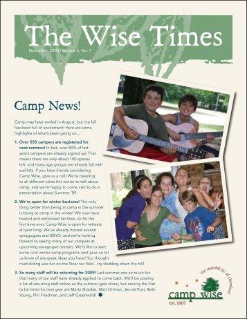 December 2008: Volume 2, Issue 1 - Camp Wise