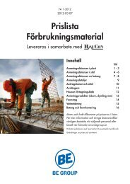 Prislista Förbruknings-material Armering - BE Group