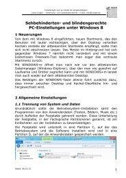 und blindengerechte PC-Einstellungen unter Windows 8 - Augenbit