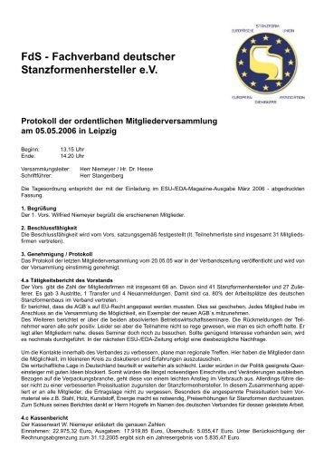 Protokoll Mitgliederversammlung 05.05.06 - esuinfo.org