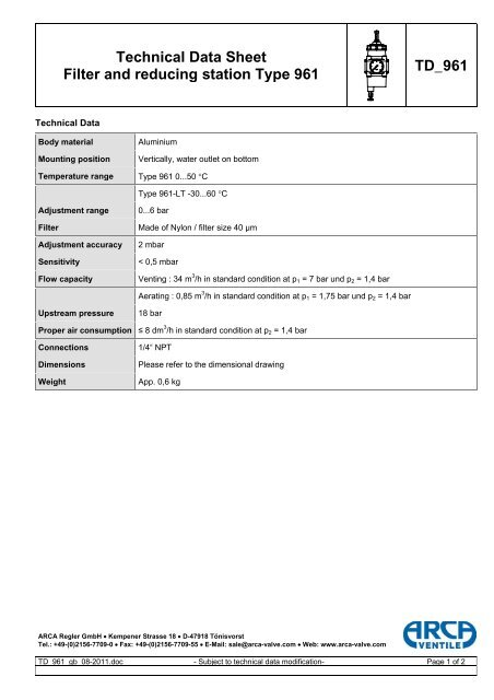 Technical Data Sheet Filter and reducing station Type 961 TD_961