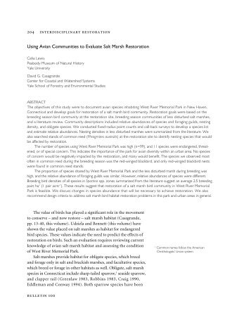 Using Avian Communities to Evaluate Salt Marsh ... - Yale University