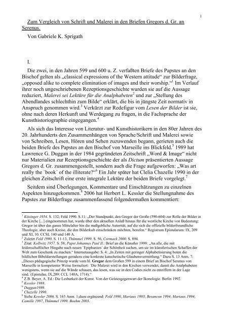 Zum Vergleich von Schrift und Malerei in den Briefen Gregors d. Gr ...