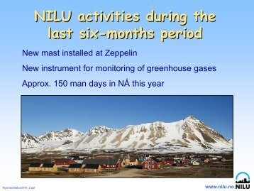NILU activities during the last six-months period - NySMAC